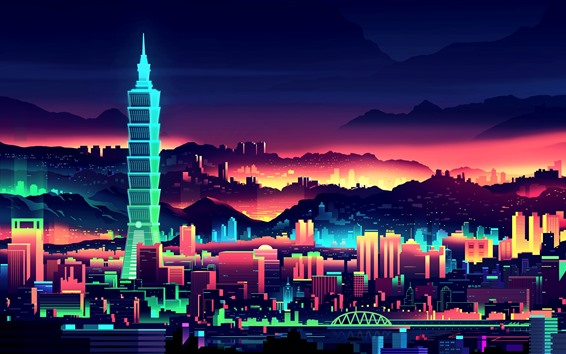 Wallpaper Vector picture, Taiwan, city, skyscrapers, art