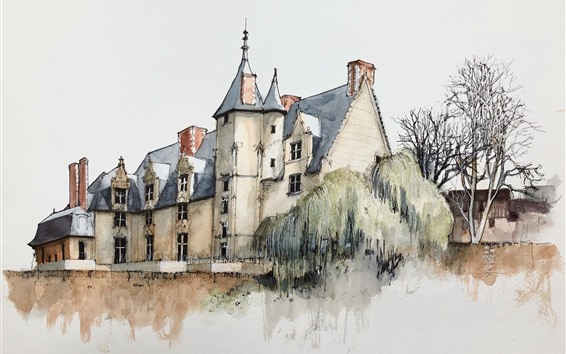 Wallpaper Watercolor painting, village, house