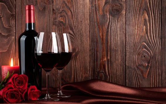 Papéis de Parede Vinho, rosas vermelhas, garrafa, taça, vela