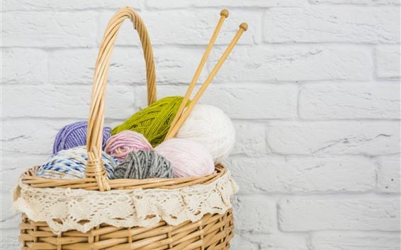 Wallpaper Wool thread, basket, wall