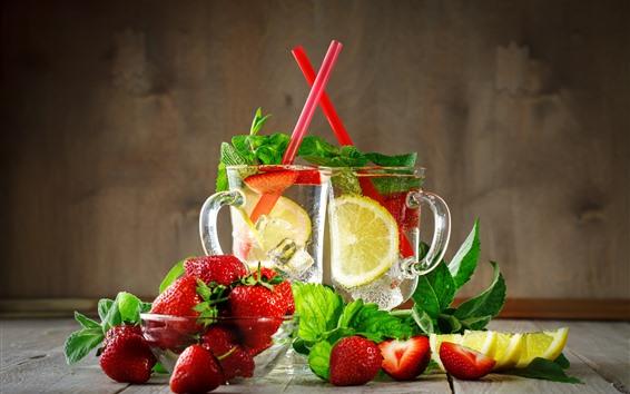 Wallpaper lemonade, drinks, strawberry