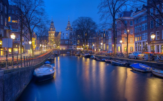 Wallpaper Amsterdam, Netherland, river, boat, trees, night, lights