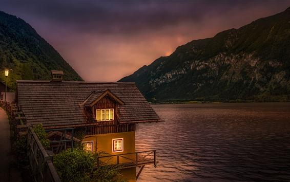 Papéis de Parede Áustria, lago, hallstatt, casa, anoitecer