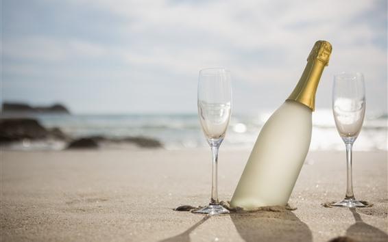 Wallpaper Beach, glass cups, champagne, sunshine