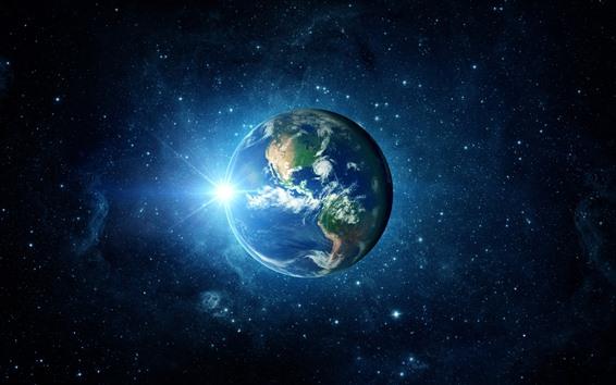 Fondos de pantalla Tierra hermosa, planeta azul, sol, estrellas, galaxia.