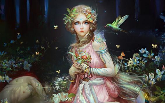 Wallpaper Beautiful fantasy girl, butterfly, birds, art picture