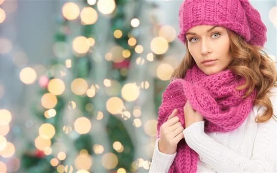Wallpaper Beautiful girl, sweater, pink scarf, light circles