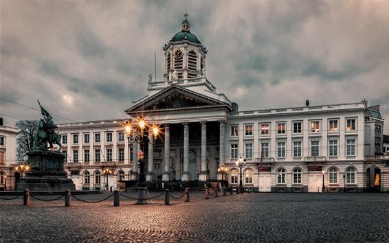 壁紙 ベルギー、ブリュッセル、宮殿、夜、ライト