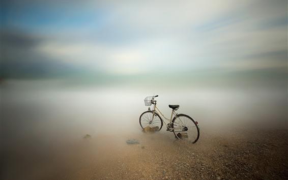 壁紙 自転車、海、海岸