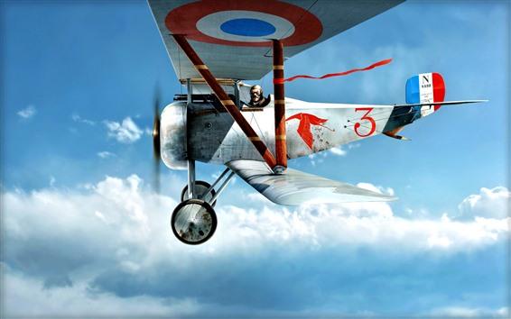 Wallpaper Biplane, pilot, sky, flight