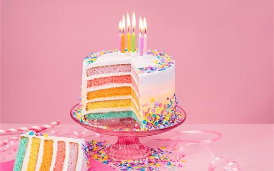 壁紙 誕生日ケーキ、カラフルなレイヤー、虹色、キャンドル、炎