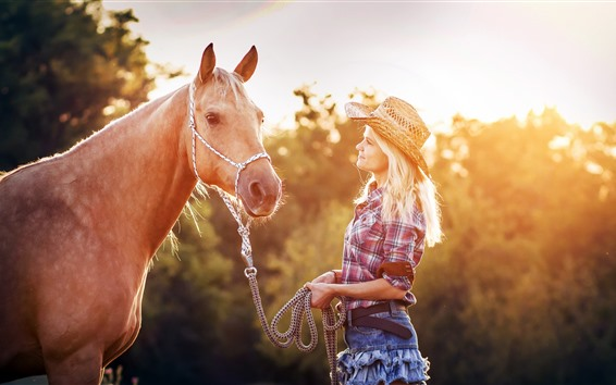 Wallpaper Blonde girl and horse, sun rays, summer