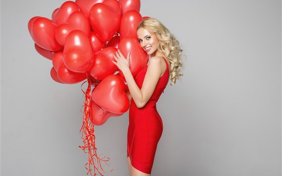 Wallpaper Blonde girl, happy, red love heart balloons