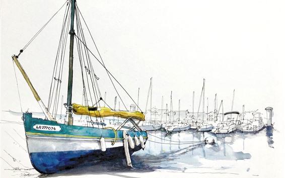 Wallpaper Boats, pier, watercolors
