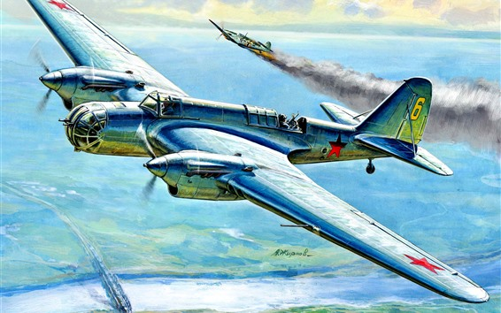 Wallpaper Bomber, WWII, art painting
