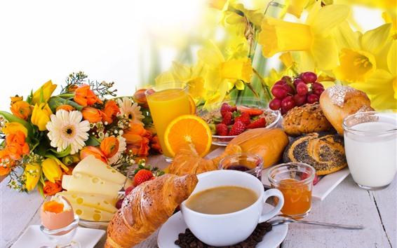배경 화면 아침 식사, 빵, 커피, 꽃, 딸기, 치즈