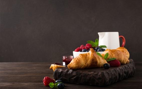 Fond d'écran Petit déjeuner, croissant, myrtille, framboise, confiture