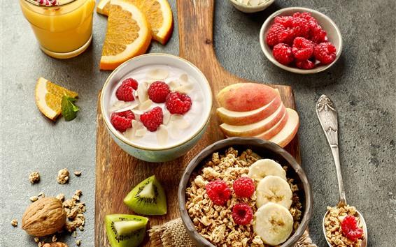 Wallpaper Breakfast, muesli, raspberry, kiwi, apples, orange juice