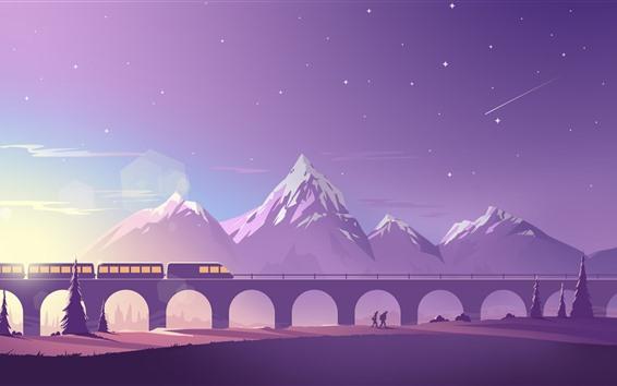 Wallpaper Bridge, train, mountains, vector art picture