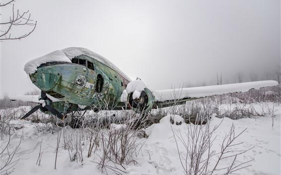 배경 화면 깨진 비행기, 눈, 겨울