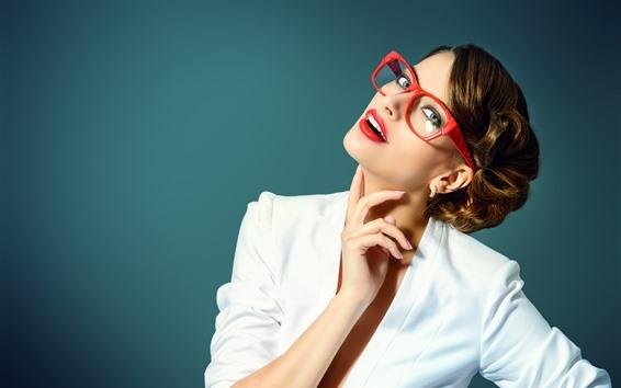 壁紙 茶色の髪の少女、白いドレス、メガネ