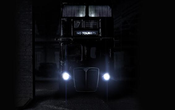 Wallpaper Bus, front view, headlight, night
