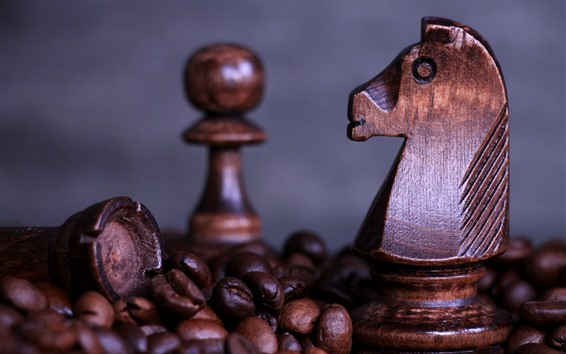 Wallpaper Chess, horse, coffee beans