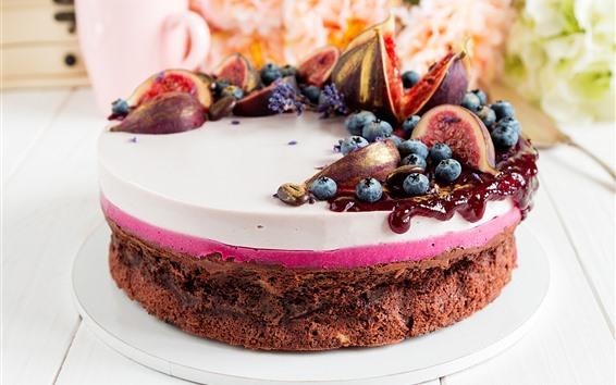 壁紙 チョコレートケーキ、イチジク、ブルーベリー