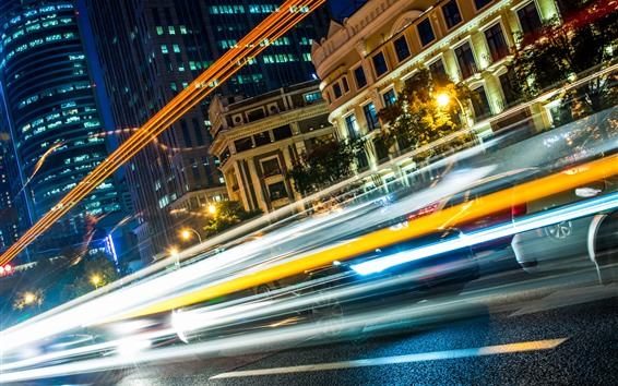 Papéis de Parede Cidade, linhas de luz, velocidade, carros, noite