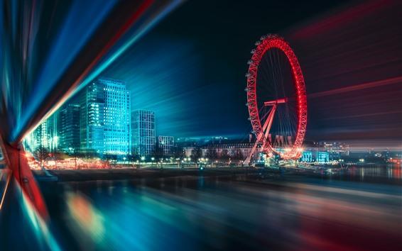 Papéis de Parede Cidade, noite, roda gigante, linhas de luz, rio