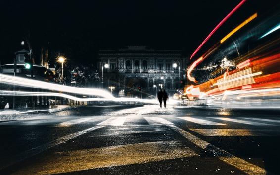 Wallpaper City, night, light lines, street