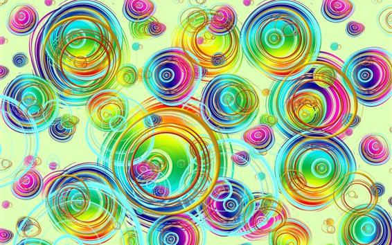 Обои Разноцветные круги, креативный дизайн, абстрактная картинка