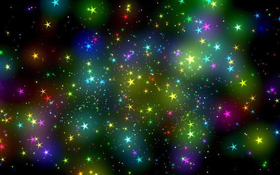 Обои Разноцветные звезды, небо, абстрактный дизайн