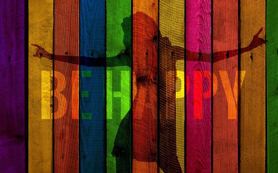 Wallpaper Colorful wooden board, painting, silhouette