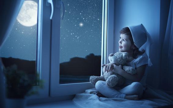 Papéis de Parede Cute, menininha, olhe, janela, criança, lua, estrelas