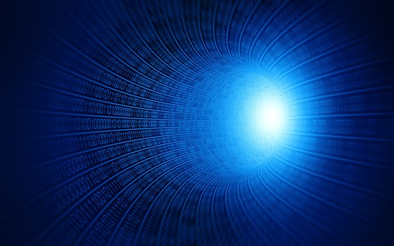 Wallpaper Digital tunnel, one and zero, glare, blue style