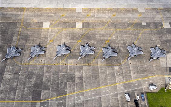 Wallpaper F-22 Raptor, airport, top view