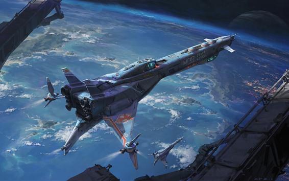 Fondos de pantalla Arte de fantasía, nave espacial, espacio.