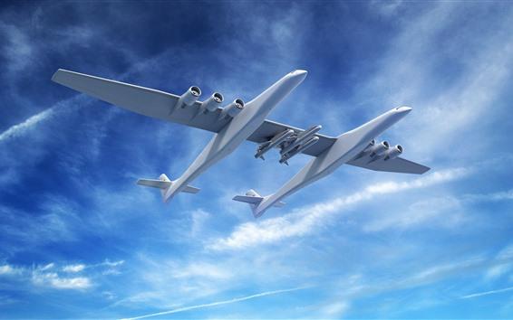 배경 화면 환상의 비행기, 디자인, 푸른 하늘, 구름