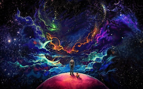Wallpaper Fantasy world, clouds, planet, stars, boy, colorful