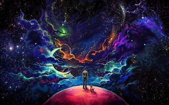Обои Фантастический мир, облака, планеты, звёзды, мальчик, разноцветные