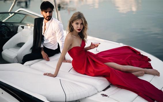 Wallpaper Fashion girl, red skirt, man, yacht, wine