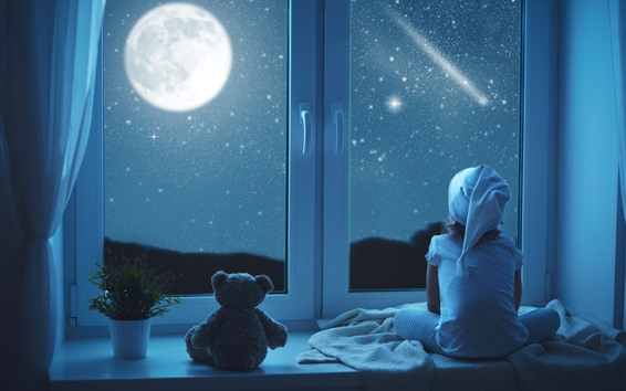 Wallpaper Girl and teddy look out the window, night, stars, moon