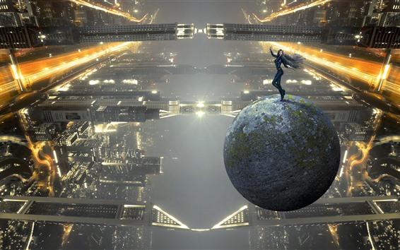 Обои Девушка, поза, шар, будущее, небоскребы, креативная картинка