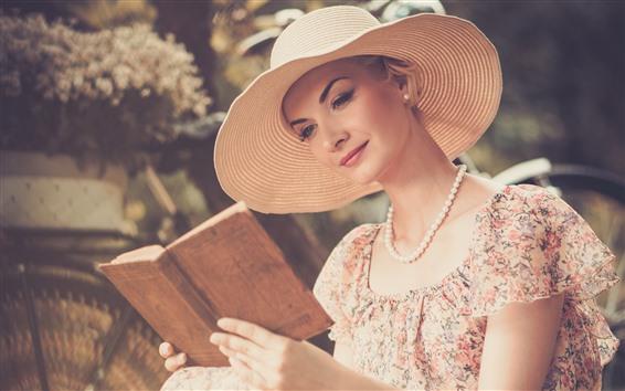 Wallpaper Girl reading book, hat, skirt, summer