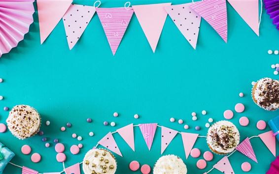 Wallpaper Happy Birthday, decorations, cakes
