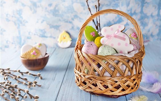 Papéis de Parede Feliz Páscoa, cesta, ovos coloridos, biscoitos de forma de coelho