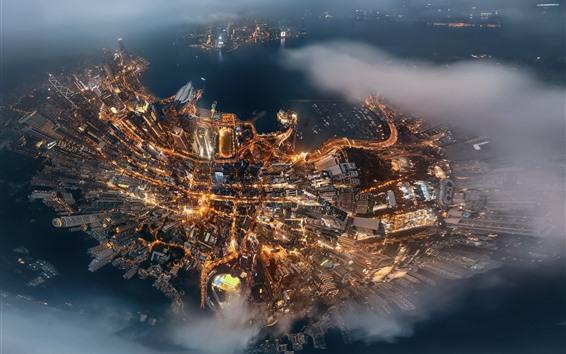 Wallpaper Hong Kong, city, night, skyscrapers, lights, top view