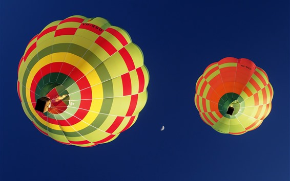 Wallpaper Hot air balloon, blue sky, moon
