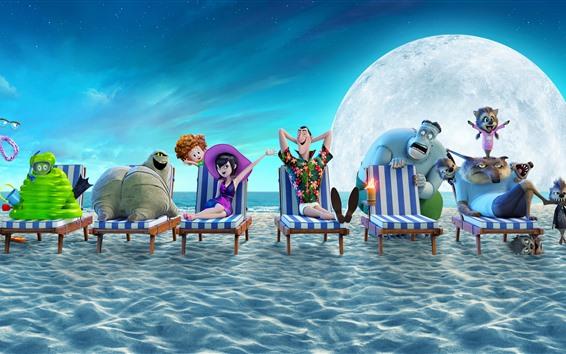 Papéis de Parede Hotel Transylvania 3: Férias de Verão, praia, mar, lua